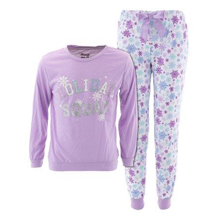 Girls Holiday Pajamas (Sleep On It Girls Holiday Squad Lavender Christmas)