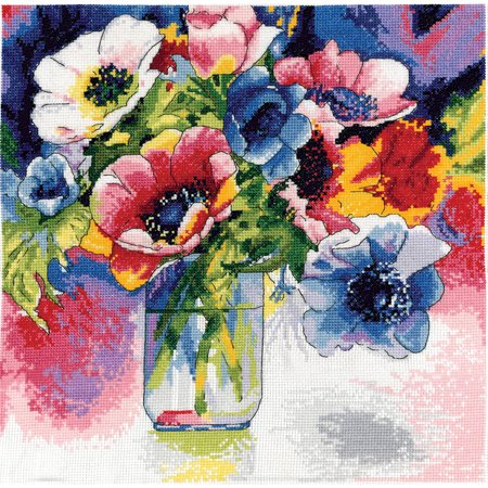 Counted Cross Stitch Kit (Watercolor Anemones Counted Cross Stitch Kit, 12