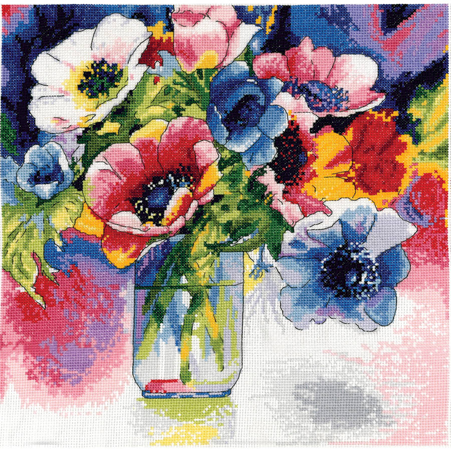 "Watercolor Anemones Counted Cross Stitch Kit, 12"" x 12"", 14-Count"