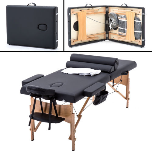 BestMassage 2 Fold Portable Massage Table W/Free Carry Case Facial Spa Bed
