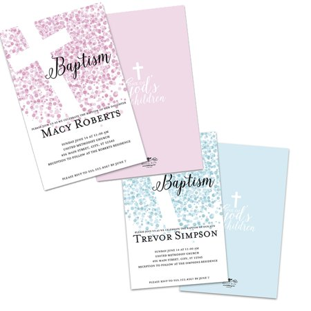 Personalized Dots Baptism Invitations