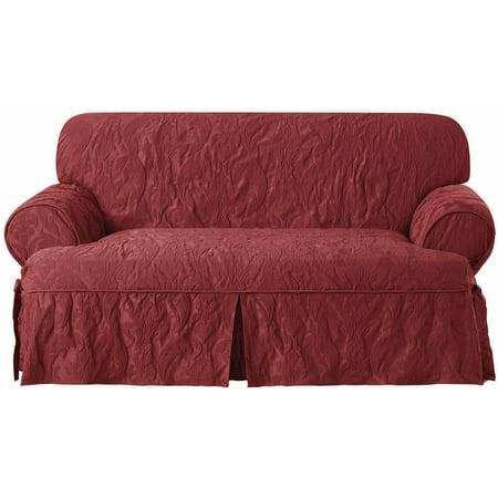 Sure Fit Matelasse Damask T Cushion Loveseat Slipcover
