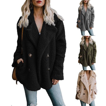 Women's Warm Winter Thicken Fleece Fur Coat Hooded Parka Overcoat (Fleece Parka)