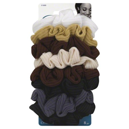 Goody Ouchless Ribbed Hair Scrunchies, Assorted Neutral Colors, 8 Ct - Slinky Hair Ties