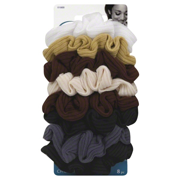Goody Ouchless Ribbed Hair Scrunchies, Assorted Neutral Colors, 8 Ct