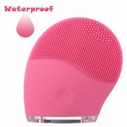 Proster Facial Cleansing Brush Soft Vibration Electric Rechargeable Washing Brush Skin Face Cleanser Massager Brush Waterproof Pink For Women Men Girl Boy Adults