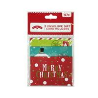 Holiday Time 3Pk Gift Card Holder Envelopes Merry Christmas