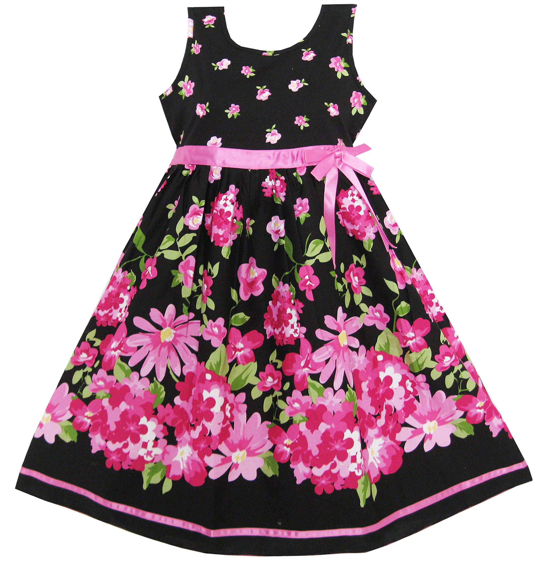 Girls Dress Hot Pink Flower Belt Party Christmas Gift Kids 4 5