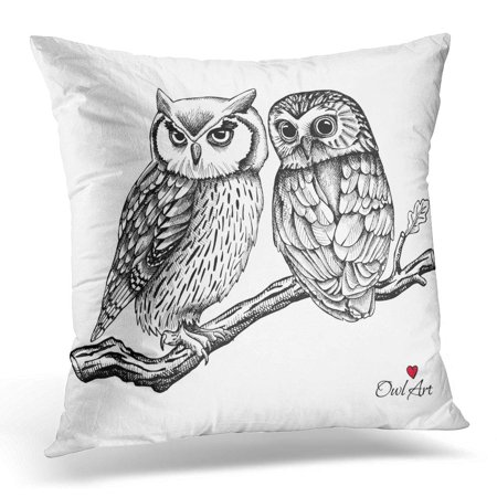 ECCOT Black Silhouette of Two Owls on Branch White Together Pillowcase Pillow Cover Cushion Case 20x20 inch - Owl Silhouette
