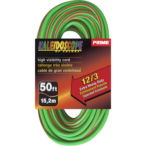 Prime Wire 50-Foot Kaleidoscope Extra Heavy Duty Extension Cord With Indicator Light, Lime Green and Red