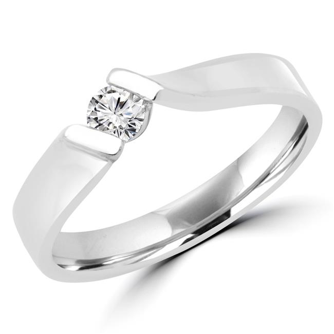Majesty Diamonds MDR170069-6.75 0.16 CT Round Diamond Promise Solitaire Engagement Ring in 14K White Gold - Size 6.75 - image 1 de 1
