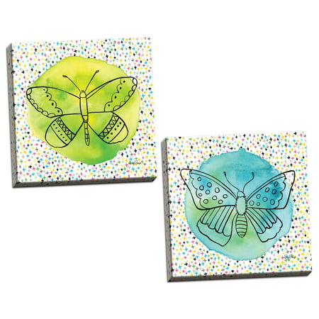 Gango Home Decor Modern Butterflies Blue & Green by Amy Frazer (Ready to Hang); Two 12x12in Hand-Stretched Canvases - Light Blue Butterfly