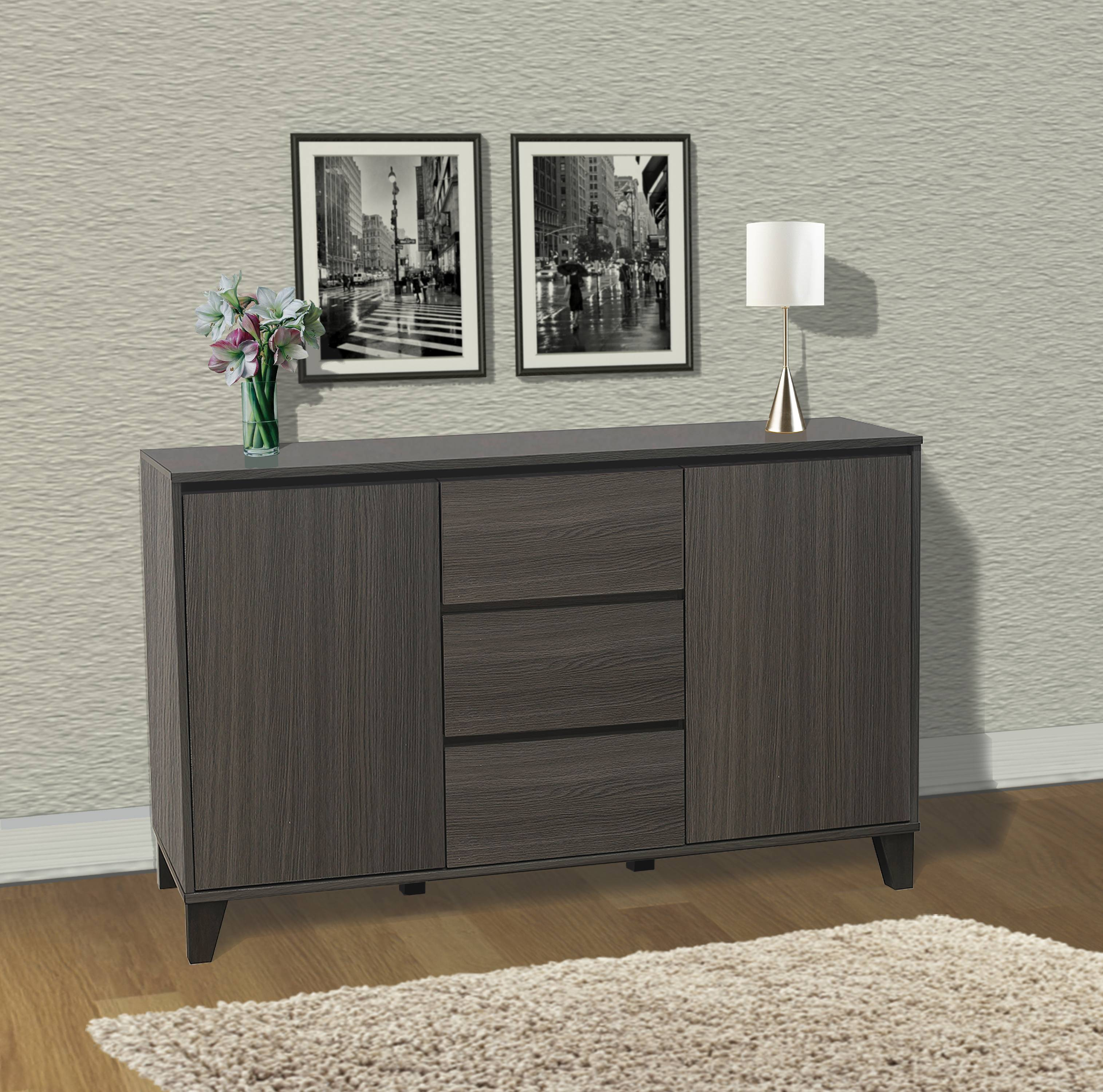 Anitra Oak Gray Wood Modern Buffet Server 2 Door Cabinet Console Table With 3 Storage Drawers & Adjustable Shelves by Pilaster Designs