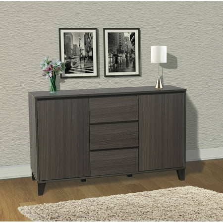 Pilaster Designs Anitra Oak Gray Wood Modern Buffet Server 2 Door Cabinet Console Table With 3 Storage Drawers & Adjustable Shelves