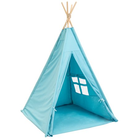 Best Choice Products 6ft Kids Cotton Canvas Indian Teepee Playhouse Sleeping Dome Play Tent w/ Carrying Bag, Mesh Window - Blue