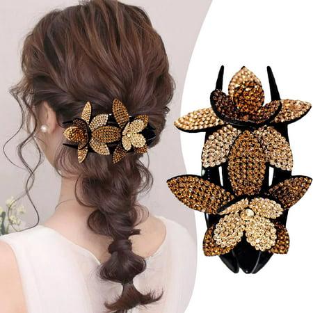 6X Rhinestone Double Flower Hair Clip Flexible Durable Women Hair Dovetail Clip~