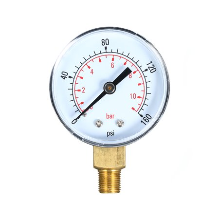 0~160psi 0~11bar Dual Scale Mechanical Pressure Gauge Pool Filter Aquarium Water Air Gas Pressure Gauge Meter 1/8 inch NPT Bottom Mount