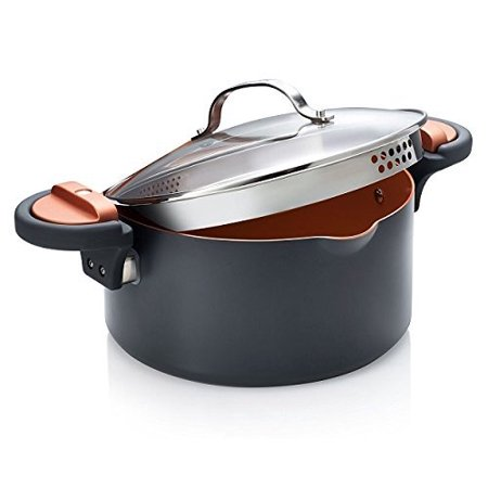 Gotham Steel 5 Quart Non-Stick Ti-Cerama Copper Coating Pasta Pot with Patented Built in Strainer, Twist N Lock Handles, 1 Each