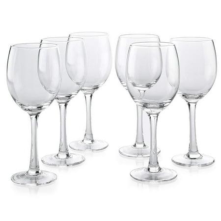 Classic Wine Glass Set of 6 - All Purpose 10 oz Wine Glasses - Dishwasher Safe Glass Stemware Set