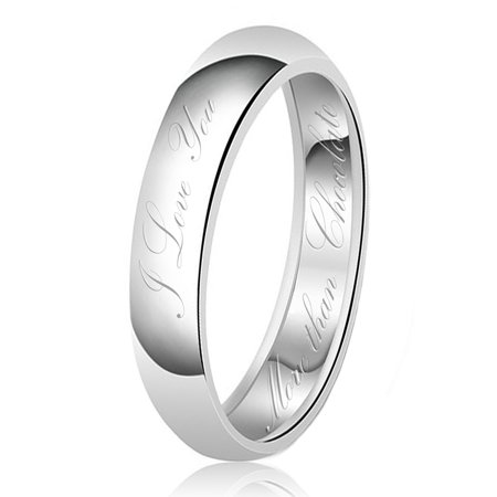 Chocolate Wedding Ring (5mm I Love You More than Chocolate Engraved Classic Sterling Silver Plain Wedding Band)