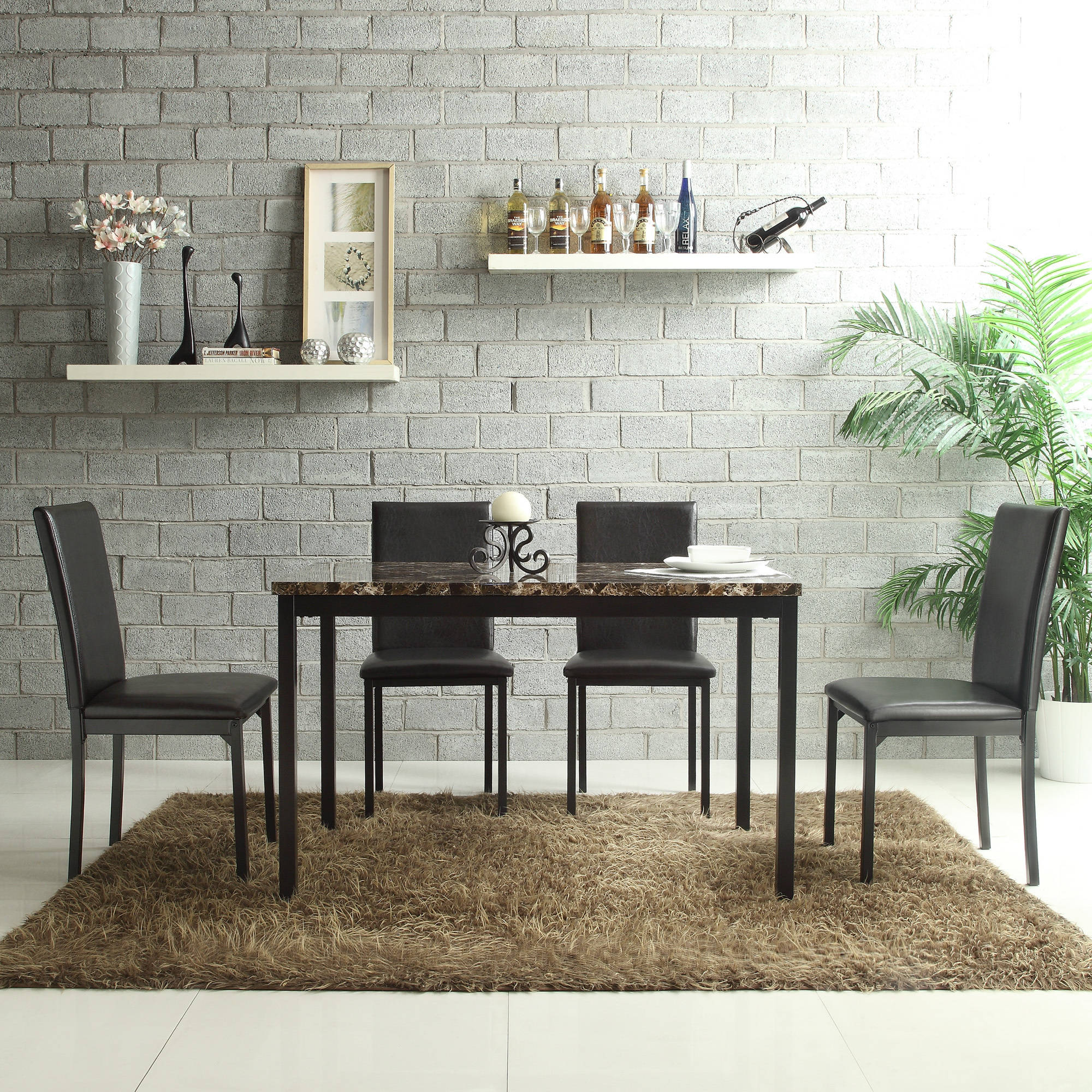 4 Chair Dining Sets declan faux leather metal chair, set of 4, dark brown - walmart