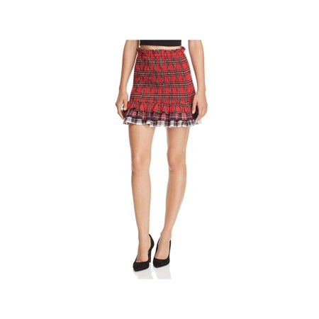 Endless Rose Womens Plaid Mini Tiered Skirt