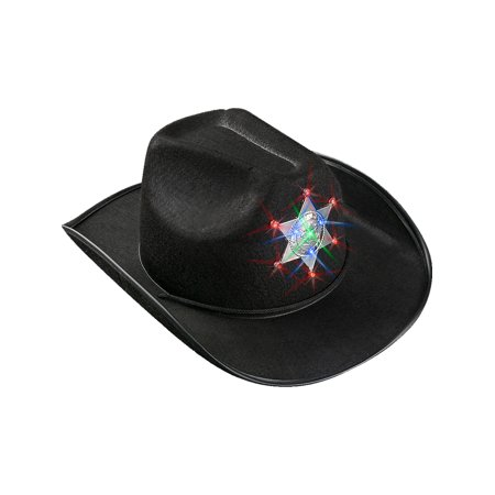 Child's Black Light Up Sheriff Badge Cowboy Hat Costume Accessory - Inflatable Cowboy Hat