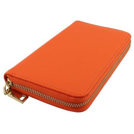 Amy&Joey genuine saffiano leather zip around wallets- ORANGE