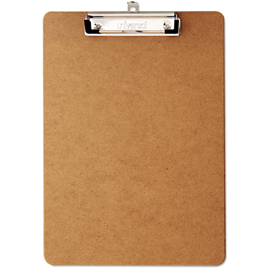 "(2 Pack) Universal Hardboard Clipboard, 1/2"" Capacity, Holds 8 1/2w x 12h, Brown, 6/Pack -UNV05562"