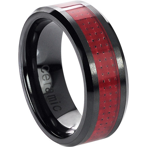 Daxx Men's Ceramic Red Carbon Inlay Ring
