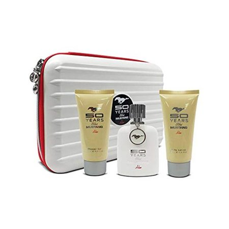 Mustang 218 3.4 oz Women 50 Years Tin EDP Perfume, Shower Gel & Body Lotion Set - 3 Piece