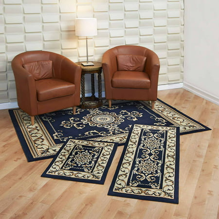 Capri 3 Piece Rug Set Royal Crown Navy Area