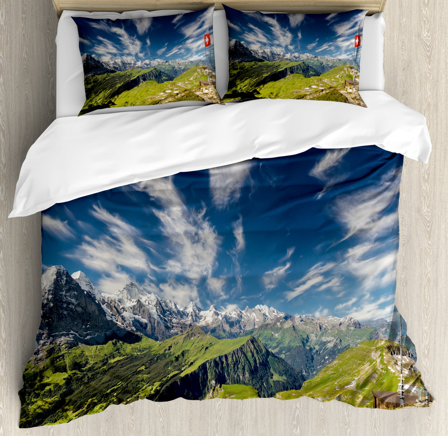 Switzerland Duvet Cover Set Panoramic View Of The Swiss Alps Idyllic Nature Photography Mountain Region Decorative Bedding Set With Pillow Shams Multicolor By Ambesonne Walmart Com Walmart Com