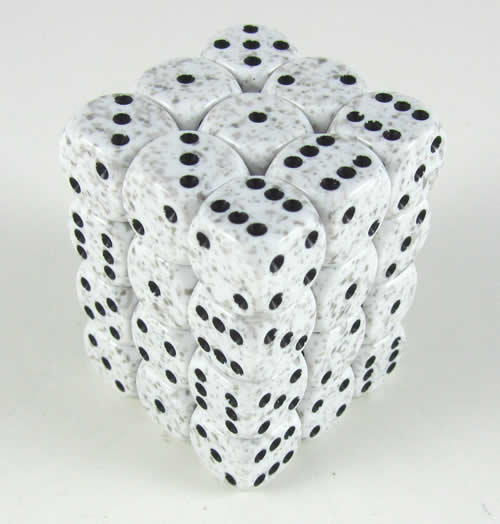 Arctic Camo Speckled D6 Dice with Black Pips 12mm (1/2in) Pack of 36 Dice Chessex