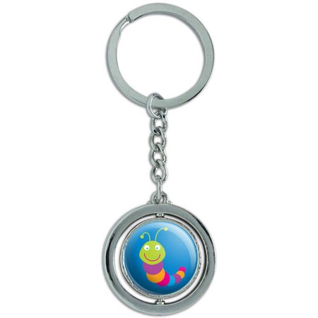 Caterpillar Bug Insect Spinning Round Metal Key Chain Keychain Ring