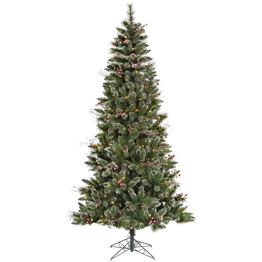 Vickerman 4.5' Snow Tipped Pine and Berry Artificial Christmas Tree with 150 Clear Lights