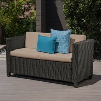 Priscilla Outdoor Wicker Loveseat with Cushions, Dark Brown, Beige
