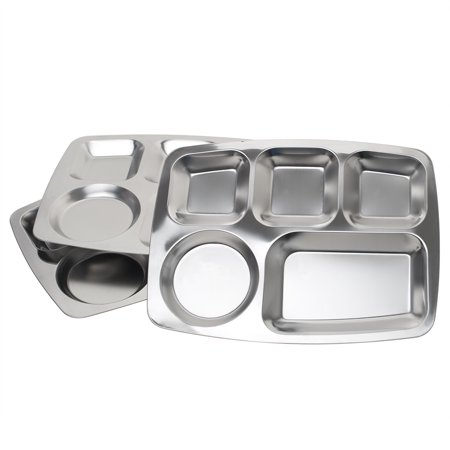 Rectangular Section (Aspire Rectangular Divided Cafeteria Tray, Stainless Steel Tray, 3 Pieces-5 Sections )
