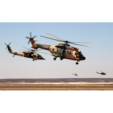 LAMINATED POSTER Royal Jordanian Air Force AS332 Super Puma and AH-1 Cobra helicopters fly away after dropping off sp Poster Print 24 x 36 (Air Jordan 1 Retro Royal)