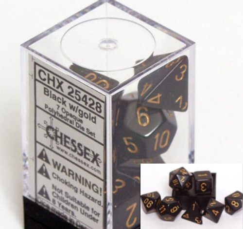 Chessex Polyhedral 7-Die Opaque Chessex Dice Set - Black with Gold Numbers