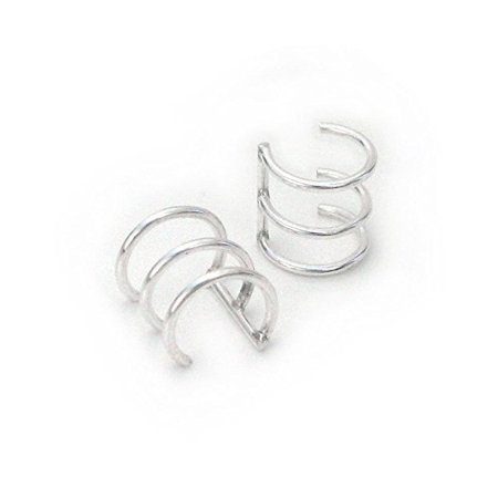 Sterling Silver 3 Bars Wire Band Ear Cuffs, One - Sterling Silver Ear Cuff