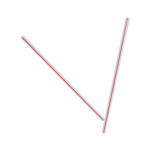 Dixie (10000 per Carton) Unwrapped Hollow Stir-Straws in White / Red