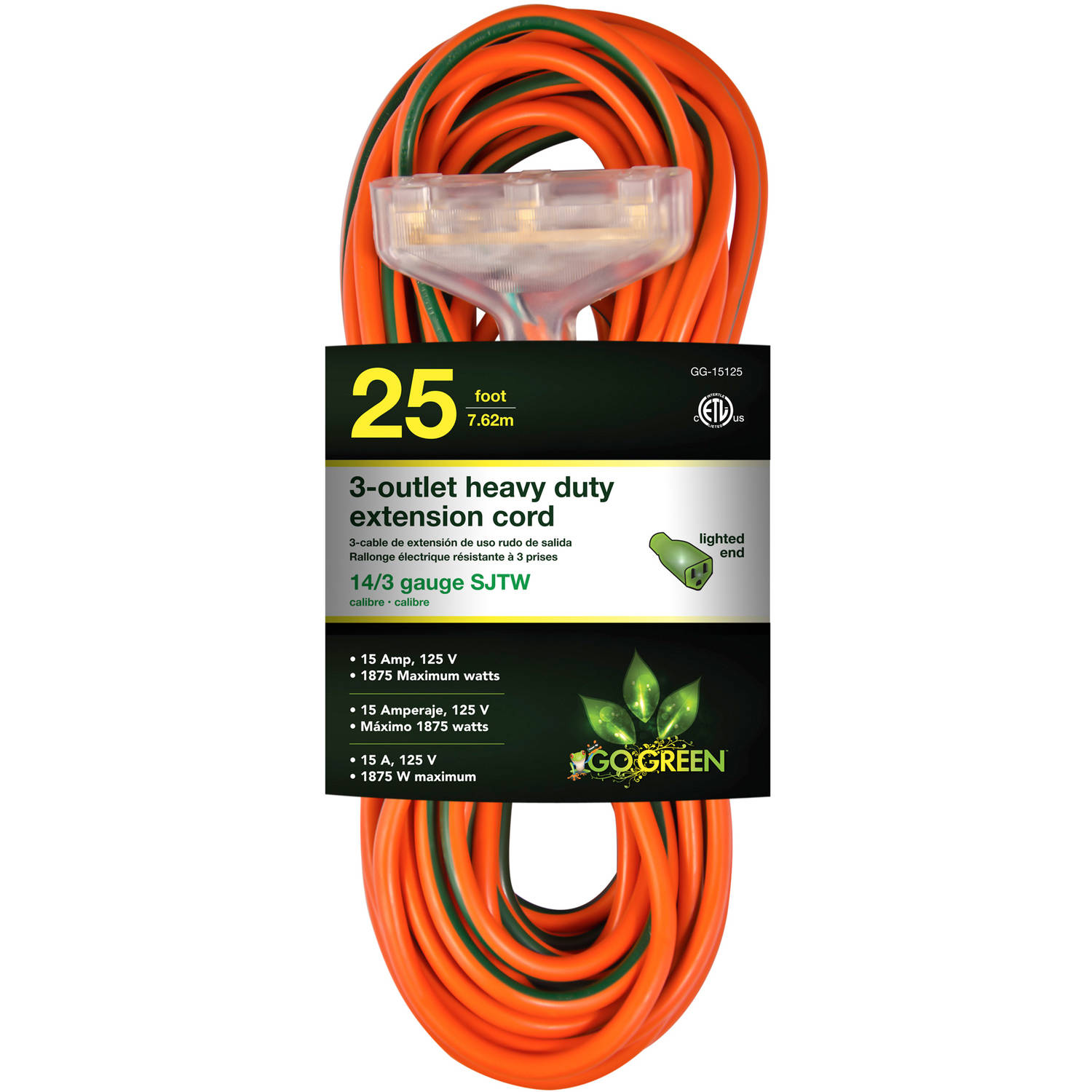 GoGreen Power 14/3 25' 15125 3-Outlet Heavy Duty Extension Cord, Lighted End