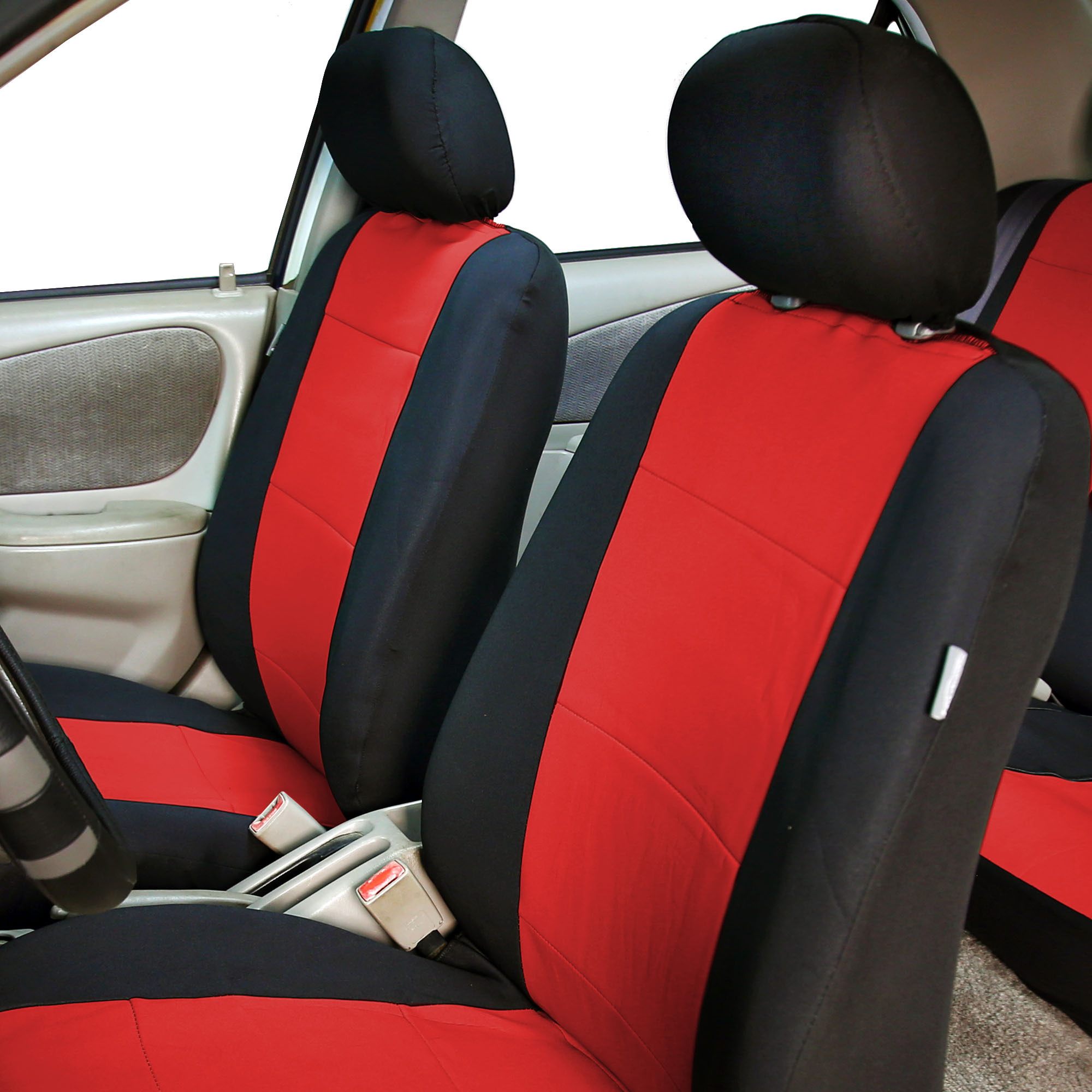 FH Group Neoprene Seat Covers for Sedan, SUV, Truck, Van, Two Front Buckets, Red Black