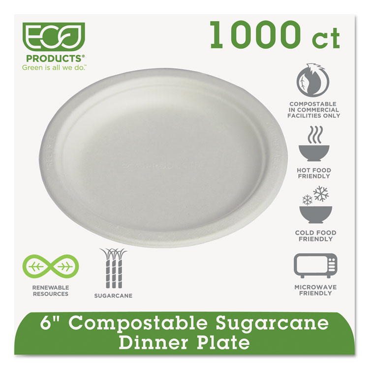 ECO-PRODUCTS Compostable Sugarcane Dinnerware, 6'' Plate, 1000/Carton
