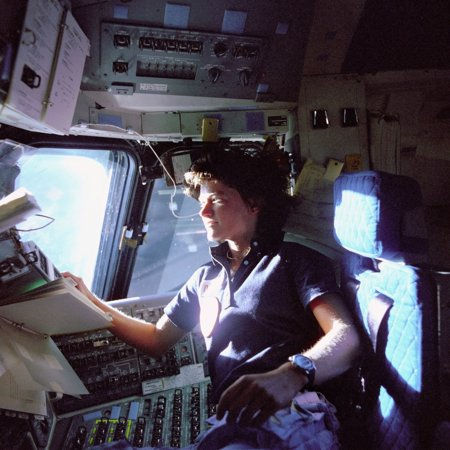 Astronaut Sally Ride Monitors Control Panels From The PilotS Chair On The Flight Deck Of The Space Shuttle Challenger She Held Her PhD In Physics From Stanford And Was The First American Woman In (First Woman To Receive A Phd In Psychology)