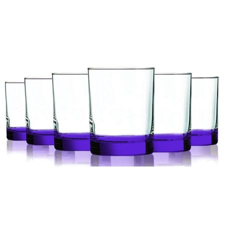 Purple Beverage Aristocrat Double Old Fashioned Glasses with Beautiful Accent - 14 oz. set of 6- Additional Vibrant Colors Available - Orange Martini Glasses