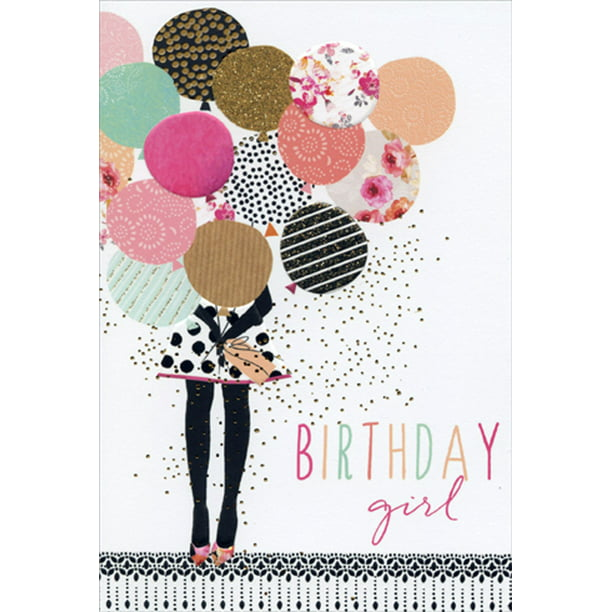 Pictura Birthday Girl With Balloons Sara Miller Feminine Birthday Card for Her / Woman