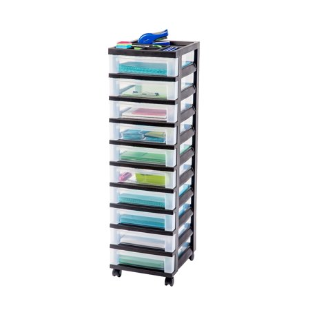 IRIS 10-Drawer Rolling Storage Cart with Organizer Top, -