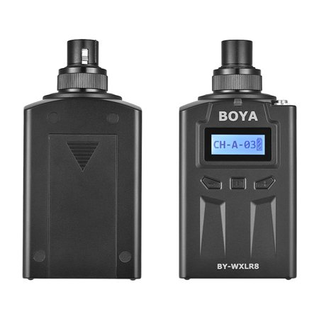 BOYA BY-WXLR8 Plug-on Transmitter with LCD Display for BY-WM8 BY-WM6 Wireless Lavalier XLR Mic Audio Mixer